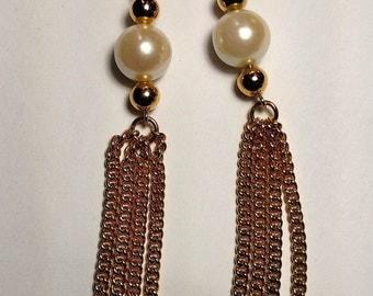 Vintage Runway Long Gold Chain Burlesque Faux Pearl Tassel Tassle Fringe Pierced Earrings Chandelier
