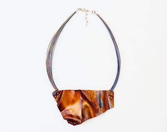 Crumpled, Copper and Nylon-coated Stainless steel necklace