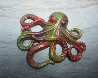 Large Octopus Charm, Iridized Multicolors, Original Iridized Brass Supplies x 1