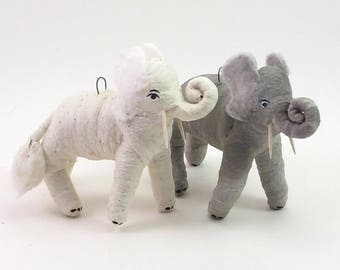 Vintage Inspired Spun Cotton Gray Elephant Ornament/Figure
