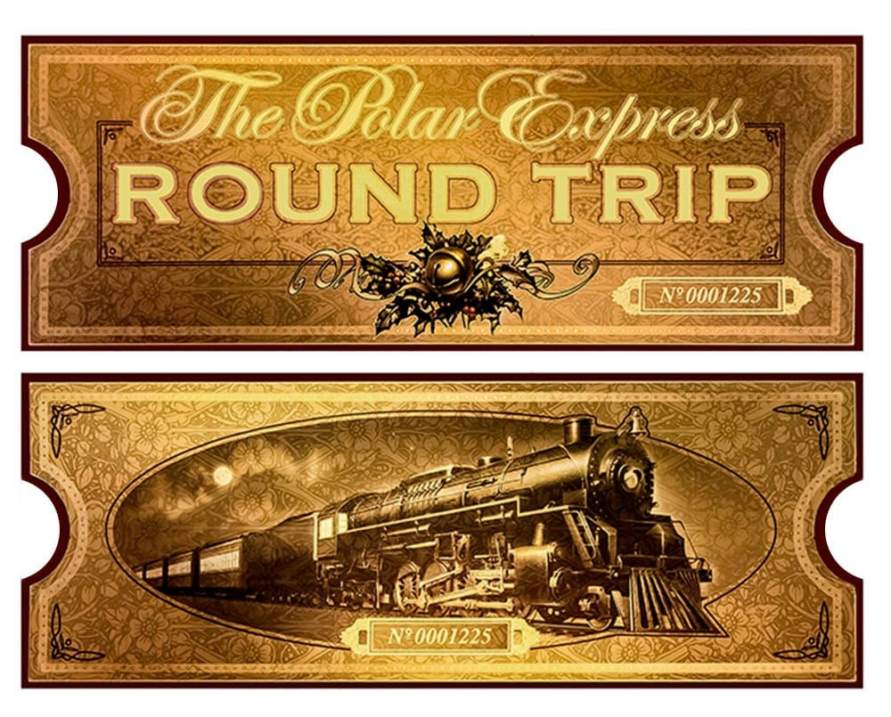 Polar express film movie reproduction golden train ticket for Polar express golden ticket template