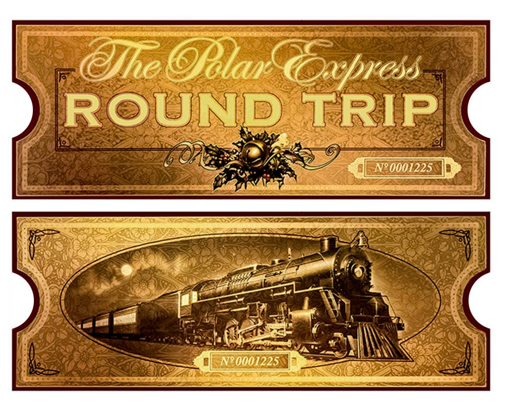 Polar Express Golden Ticket Template Polar Express Film Movie Reproduction Golden Train Ticket