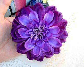 Purple Dahlia Hair Clip, Dahlia Hair Clip, Purple Flower Hair Clip, Pinup Hair Accessorie