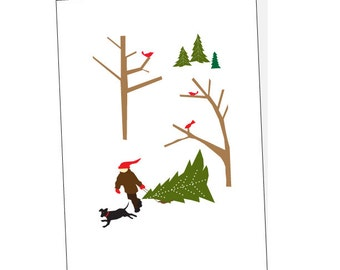 holiday cards christmas tree snowy woods with black lab