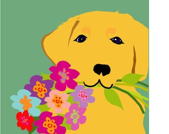 Labrador greeting cards with flowers collection for Maggie