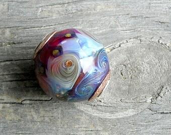 Handmade Large Hole Art Glass Bead . Red Purple . Lampwork Glass . Sterling . Copper . Julie Nordine . Credit River Art Glass . BHB123