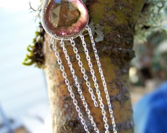 Watermelon Tourmaline, faceted slice, sterling silver coil wrap, sterling silver pendant, necklace