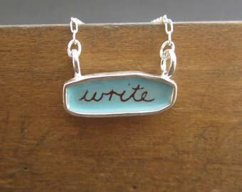 Write / Create Necklace - Reversible Sterling Silver and Enamel Script Necklace