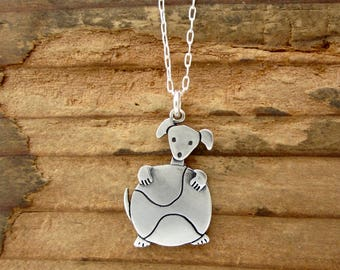 Sterling Tennis Dog Necklace - Cute Silver Pupball Pendant