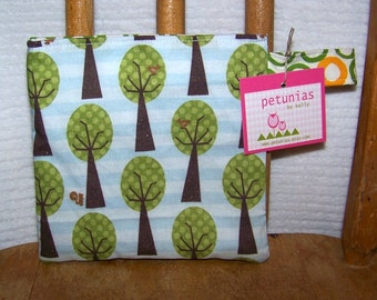 Reusable Little Snack Bag - pouch kids adults eco friendly trees exclusive fabric by PETUNIAS
