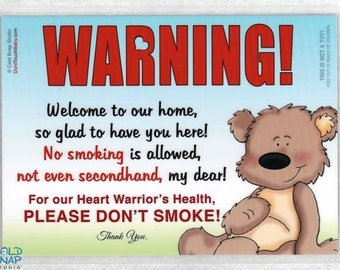 """CHD NO SMOKING 5""""x7"""" Heart Warrior Door Sign, Don't Smoke, No Secondhand Smoke Home Signs"""