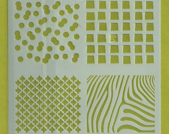 Stencil Stencils Pattern, Cake DIY Decorating, Wall stencil, Template, Reusable, Flexible, for clay, glass, cards | SQUARES | 5.1 inch/13 cm