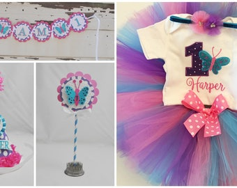 Supreme Butterfly 1st Birthday Party Package- Cake Smash Set & Tutu Outfit- Personalized