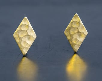 Diamond Shape Brass Stud Earrings-Hammered Texture