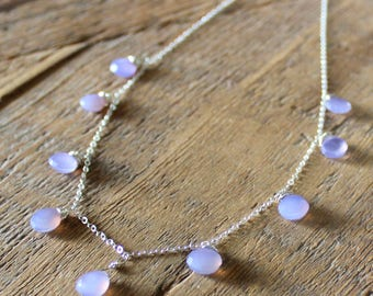 Glowing Mauve Chalcedony Necklace- Sterling Silver Necklace, Purple Quartz Necklace, Silver jewelry