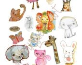 ANIMALS Mixed media, journaling collage sheets - by Mindy Lacefield