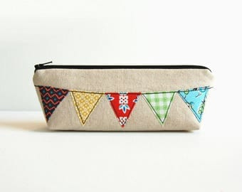 Zipper Pouch, Makeup Bag, Toiletry Storage, Cosmetic Case, Women and Teens, Bunting Banner on Natural Essex Linen