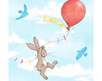 Personalised childs name bunny art print, Boo and the Balloon