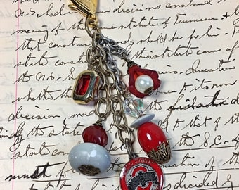 Ohio State University College Scarlet and Gray zipper pull jeans jewelry beaded OSU
