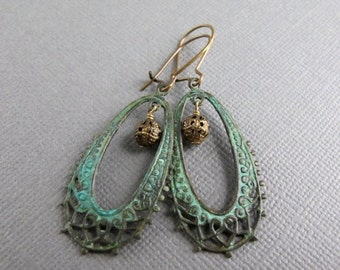SALE Verdigris Patina Brass Earrings, Filigree Dangle Earrings
