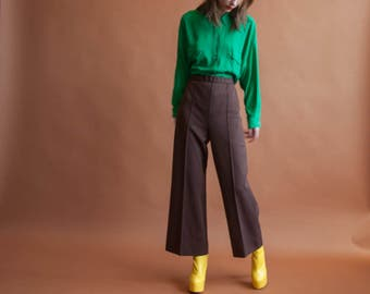 oversized green button down shirt / long blouse / green top / s / m / 2201t / B18