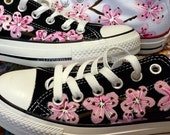 Converse Low Top, Japanese Cherry Blossoms on Black Converse, Hand-painted Tattoo Art Shoes for Bride. Gift for Girlfriend, wife bff