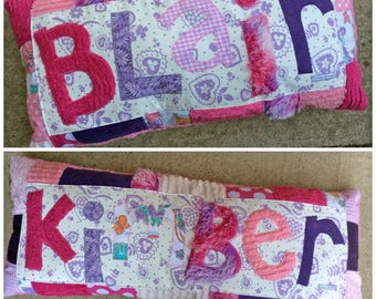 Personalized Name Pillow, Applique Custom Purple Pink Room Decor, Toddler Girls Decor, Long Bed Pillow, Teepee Reading Nook, present for her