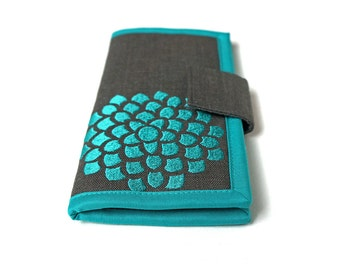 MADE TO ORDER - Womens wallet - Teal and gray Flower Wallet - Handmade fabric Wallet - Large bifold wallet
