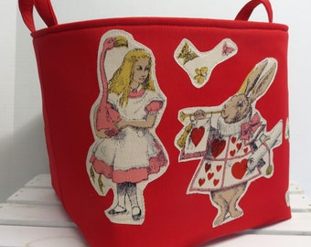 """Fabric Organizer Bin Toy Storage Container Basket - Alice in Wonderland - Humpty Dumpty Fabric Appliques on Red Fabric - 10"""" x 10"""" x 10"""""""
