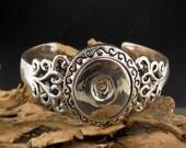 Antique Silver Snap Button Cuff Bracelet
