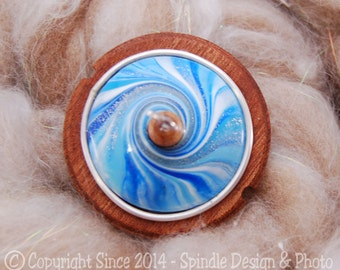 The Clay Sheep Drop Spindle - LIMITED EDITION - Ocean Blue Swirl Top Whorl Drop Spindle - Small 1.0 oz