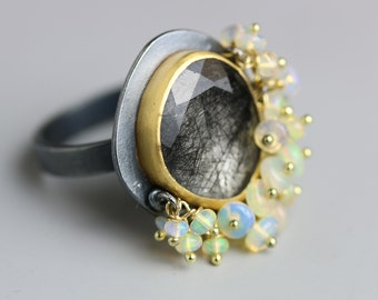 Black Rutile Ring with Ethiopian Opal Fringe, 22k Gold and Silver