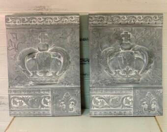 Shabby Chic Royal Crown Plaques Wall Decor, French Decor, Gray Whitewashed, Elegant Decor, Housewarming Gift