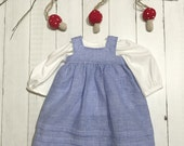 "Linen Jumper with Gathered Blouse - 18"" - 20"" Dolls"
