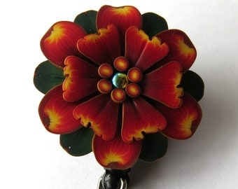 Red and Yellow Flower ID Badge Reel, Scissor Keeper, ID Lanyard, Scissor Fob
