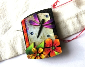 Daydream Dragonfly Garden Sewing Needle Minder, Magnetic Needle Keeper, Cross Stitch Accessory