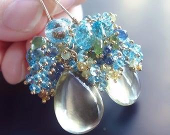 ON SALE - Custom Made to Order - Lemon Quartz Earrings with Swiss Blue Topaz, Garnet, Kyanite, and Vessonite