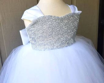 Birthday Sequin Dress, Holiday, Tulle Gown, Weddings, Flower Girl Dress, Floor Length, Silver, White, Ivory, Party Dresses, Snow Queen