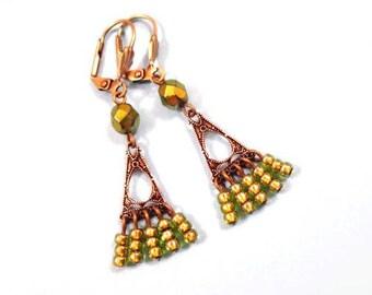 Fringe Earrings, Metallic Green and Brass Dangle Earrings, FREE Shipping U.S.