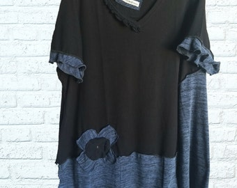 4X Ruffled Color block Tunic Shirt Eco Friendly Plus Recycled Fashion Flower Blue Black