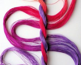 "Size 50 ""Corsage"" hand dyed thread 6 cord cordonnet tatting crochet cotton"
