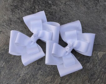 Large White Hair Bows,Pigtail Hair Bows,2-Layers,French Barrettes