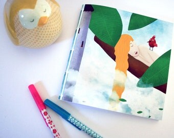 Rapunzel - square illustrated notebook - made with recycled paper