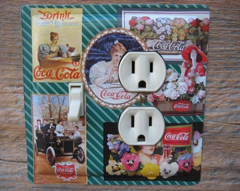 Coke Coca Cola Collectibles Lighting Decor Outlet Switch Plates Covers Combo Made From An Old Tin OLC-1081C-L