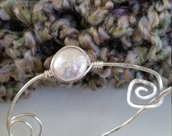 Shawl Pin Freshwater Pearl Wrapped Shawl Pin Hand Wrapped Hammered Scarf Pin
