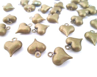 50 brass plated puffy heart charm pendants, 9x11mm, double sided, G178