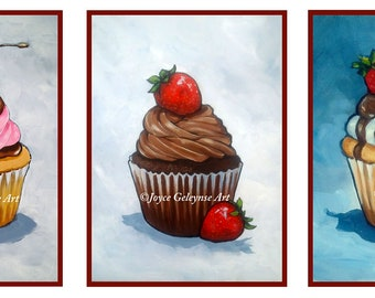 ACEO Prints, Cupcakes, Three ACEO Prints, Tiny Art, Food Art, Cupcakes with Icing, Chocolate, Cherry, Strawberries, From Original Paintings