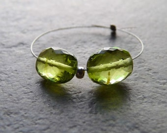 AAA Peridot Faceted Oval Nuggets - 6x8mm - PAIR