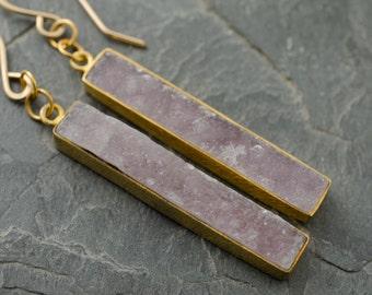 Cocoa Druzy Earrings. Druzy Gold Earrings. Gold Druzy Jewelry. Gold Bar Earrings. Druzy Vermeil Earrings
