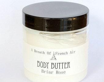 Briar Rose Body Butter, Shea Cocoa Butter,  Vegan Moisturizer, Dry Skin Hand Cream, Foot Balm, Small 4 Ounce Jar, For Sensitive Skin,